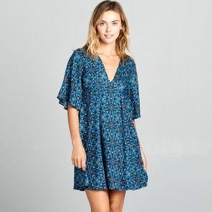 ReneeC. Women Trendy Short Sleeve VNeck Mini Dress